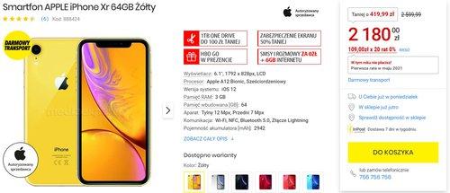 iPhone Xr za 2180 złotych to świetna okazja na zakup niedrogiego iPhone'a