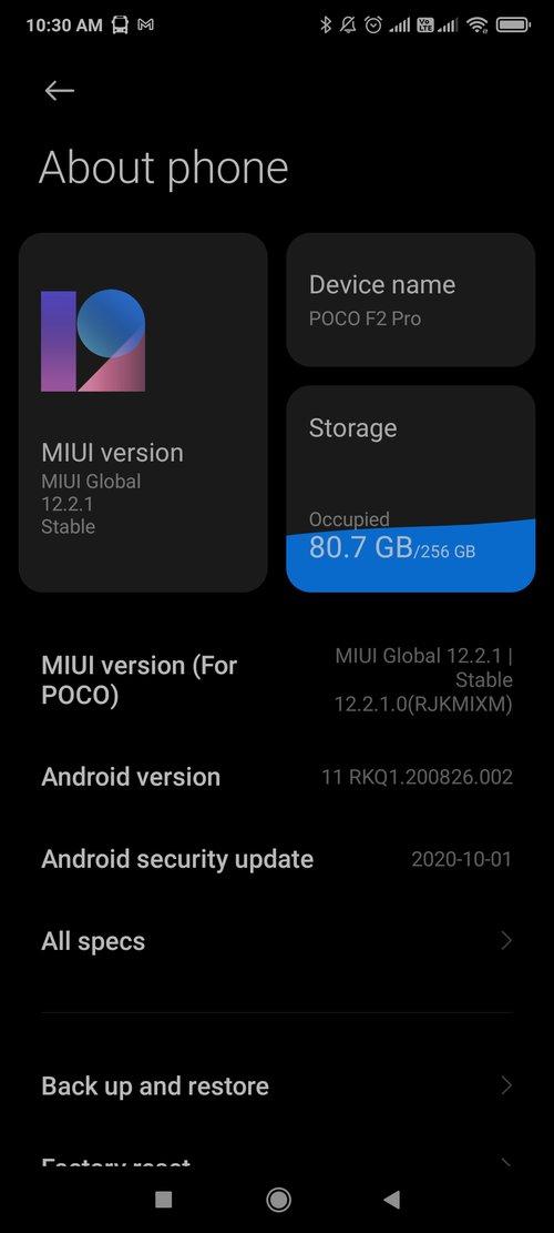 Android 11 dla Xiaomi POCO F2 Pro / fot. Reddit