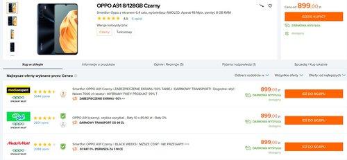 Oppo A91 doczekał się nowej,dużo bardziej atrakcyjnej ceny/fot. Ceneo