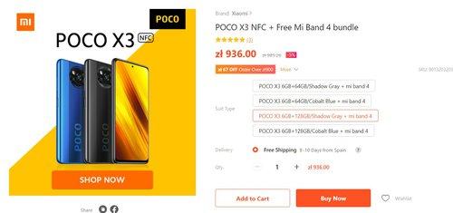 POCO X3 NFC z Xiaomi Mi Band 4 za 869 złotych to niesamowita promocja