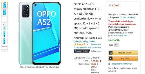 Акционная цена OPPO A52 на Amazon