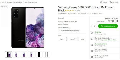 Promocyjna cena Galaxy S20+ na przykładzie sklepu x-kom