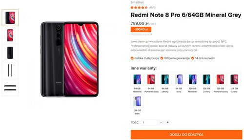 Promocyjna cena Xiaomi Redmi Note 8 Pro w Mi-home