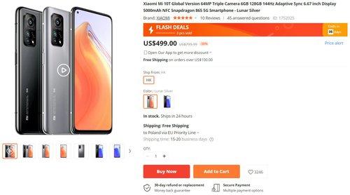 Вот стандартная цена Xiaomi Mi 10T на Banggood