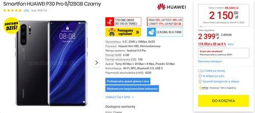 Huawei P30 Pro w dobrej promocji za 2150 złotych/fot. MediaExpert