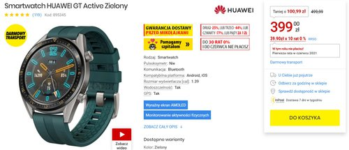 Huawei Watch GT Active w fajnej cenie/fot. MediaExpert