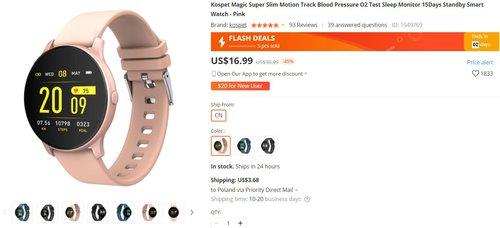 Kospet Magic to jeden z najtańszych smartwatchy z pulsoksymetrem