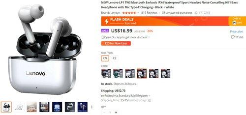 Lenovo LP1 to bardzo ładne i tanie słuchawki TWS z dobrą baterią
