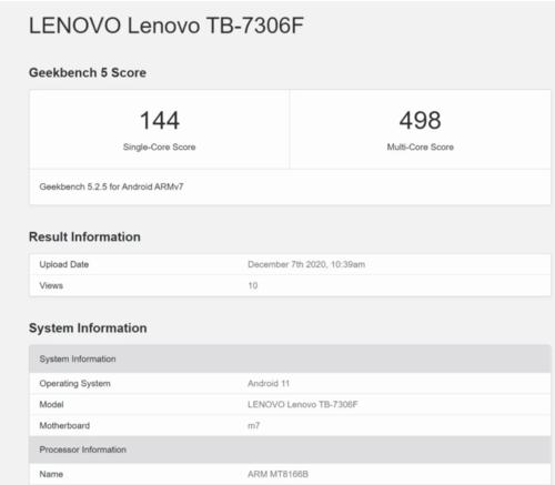 Lenovo tablet Geekbench/ fot. Geekbench