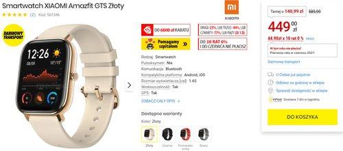 Xiaomi Amazfit GTS w dobrej promocji/fot. MediaExpert