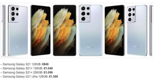Цена Samsunga Galaxy S21, S21 + i S21 Ultra / фот. SlashLeaks