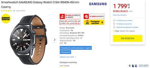 Samsung Galaxy Watch 3 to najlepszy smartwatch dla smartfona z Androidem/fot. MediaExpert