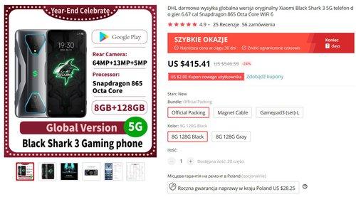 Xiaomi Black Shark 3 to nadal najwydajniejszy model Xiaomi - teraz tylko za 1500 złotych
