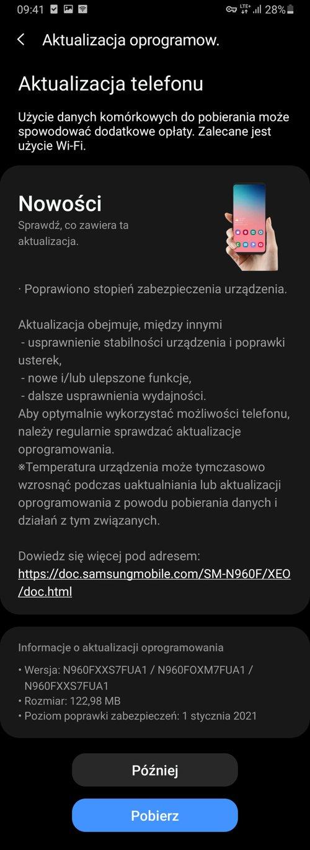 Styczniowe poprawki już na Galaxy Note 9