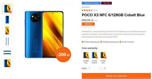 Promocyjna cena Xiaomi POCO X3 NFC w oficjalnej polskiej dystrybucji na przykładzie sklepu Mi-home.pl