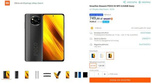 Promocyjna cena Xiaomi POCO X3 NFC na Allegro