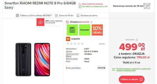 Świetna cena Xiaomi Redmi Note 8 Pro w NEONET