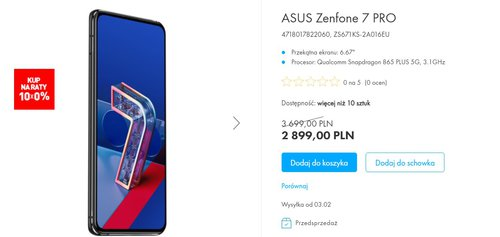 ASUS Zenfone 7 Pro mocno staniał w Polsce/fot. ASUS