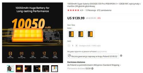 DOOGEE S59 Pro to bardzo tani smartfon z ogromną baterią i NFC