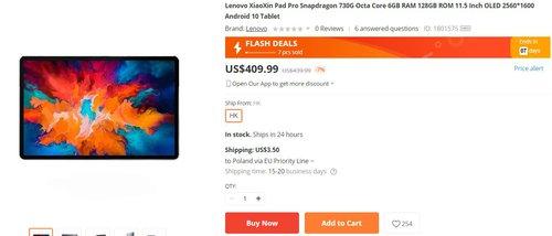 Tablet Lenovo z ekranem OLED w dobrej promocji