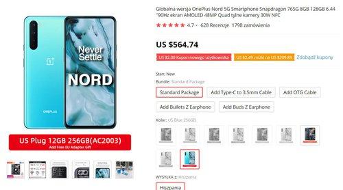 OnePlus Nord w wersji 12/256 GB z Hiszpanii w dobrej cenie