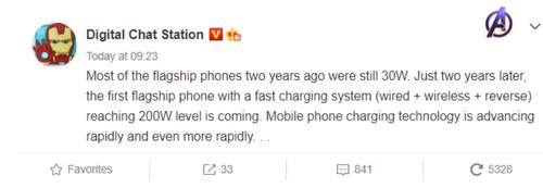 Xiaomi ma pokazać smartfon z ładowaniem 200 W/fot. Digital Chat Station