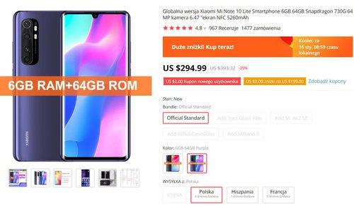 Xiaomi Mi Note 10 Lite w bardzo dobrej cenie