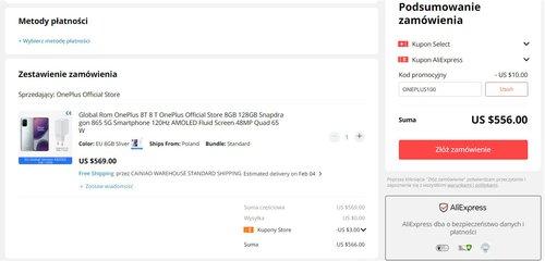 Promocyjna cena OnePlus 8T w sklepie producenta na AliExpress