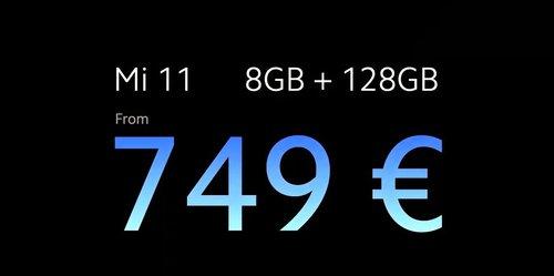 Bazowa cena Xiaomi Mi 11 w Europie