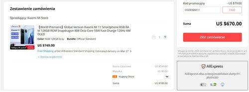 Promocyjna cena Xiaomi Mi 11 na AliExpress