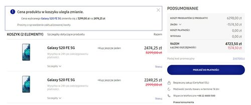 Cena Galaxy S20 FE 5G w promocji