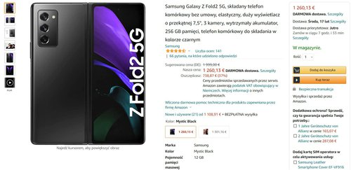 Promocja na Galaxy Z Fold 2 na niemieckim Amazonie