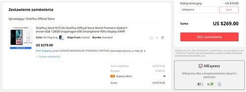 Promocyjna cena OnePlus Nord N10 5G w sklepie OnePlus na AliExpress