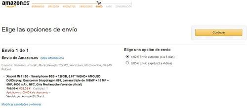 Promocyjna cena Xiaomi Mi 11 na Amazon.es