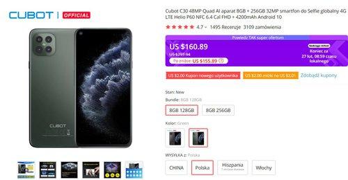 Cubot C30 to jeden z tańszych telefonów z 8 GB RAM