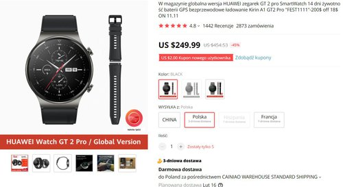Huawei Watch GT2 Pro w bardzo dobrej cenie