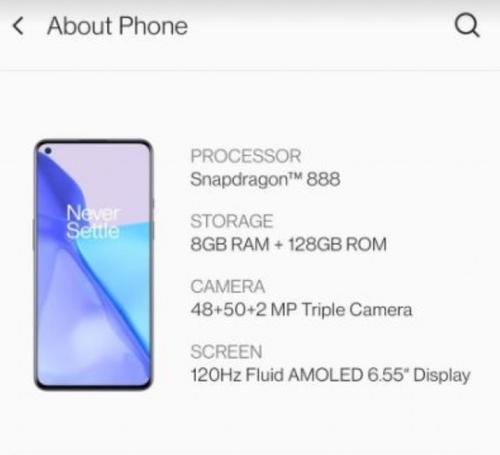 Specyfikajca OnePlus 9/fot. GSMarena