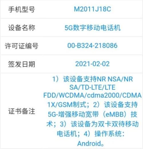 Xiaomi M2011J18C certyfikacja/ fot. TENAA