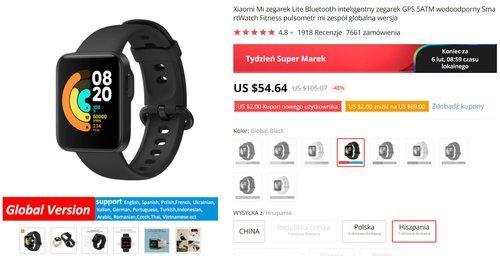 Xiaomi Mi Watch Lite w najlepszej cenie z Polski
