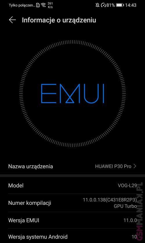 EMUI 11 już na Huawei P30 Pro