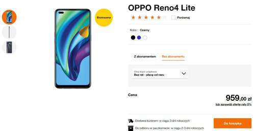Promocyjna cena OPPO Reno 4 Lite w sklepie Orange bez umowy