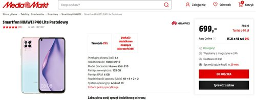 Promocyjna cena Huawei P40 Lite