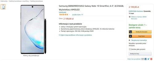 Promocyjna cena Galaxy Note 10 na polskim Amazonie