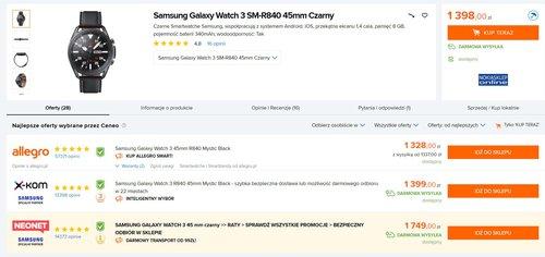 Ceny Samsunga Galaxy Watch 3 w polskich sklepach/fot. Ceneo