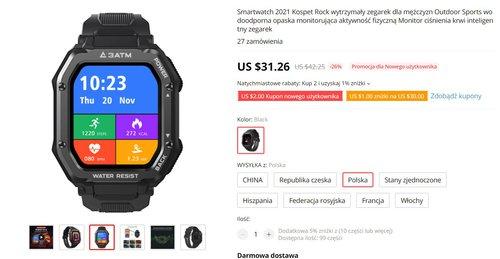 Kospet Rock to tani zegarek z pulsoksymetrem i świetną baterią