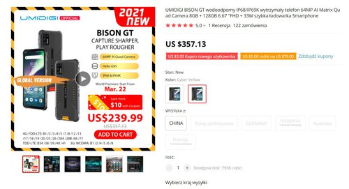 UMIDIGI Bison GT będzie kosztował 900 złotych