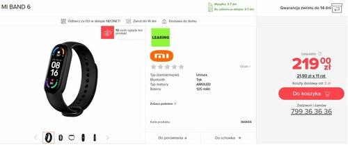 Cena Xiaomi Mi Smart Band 6 w NEONET
