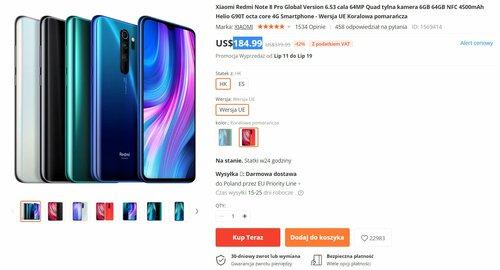 Cena Xiaomi Redmi Note 8 Pro