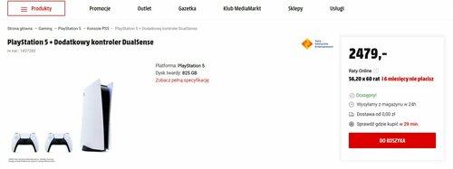 Promocyjna cena Sony PlayStation 5 w MediaMarkt