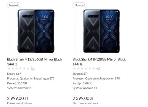 Xiaomi Black Shark 4 - cena w Polsce